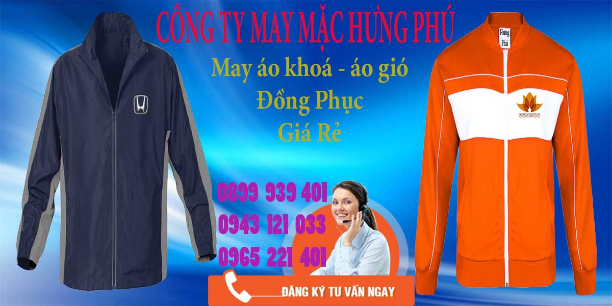 Xưởng may áo khoác, áo gió uy tín tại công ty Hưng Phú